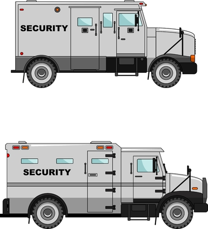 Two variants of the security car in a flat style