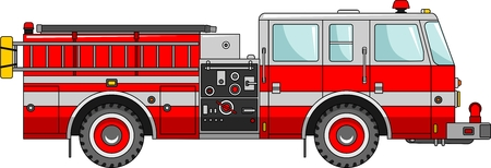 Detailed illustration of fire truck in a flat style