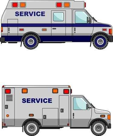 serv: Two variants of the service machine in a flat style