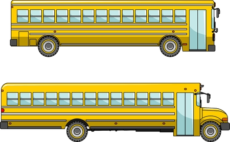 back view student: Two variants of a classic yellow school bus in flat style Illustration