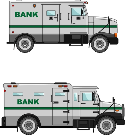 variants: Two variants of the bank vehicle in a flat style