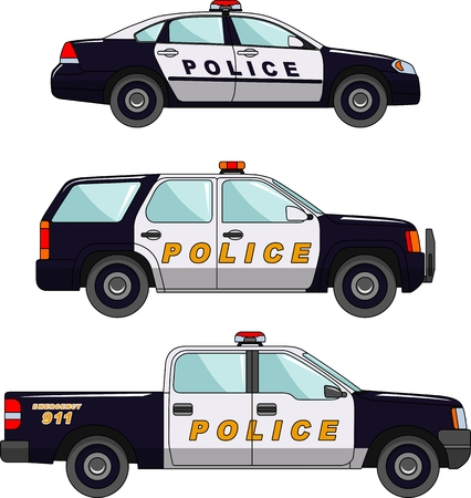 Three variants of the police car in a flat style