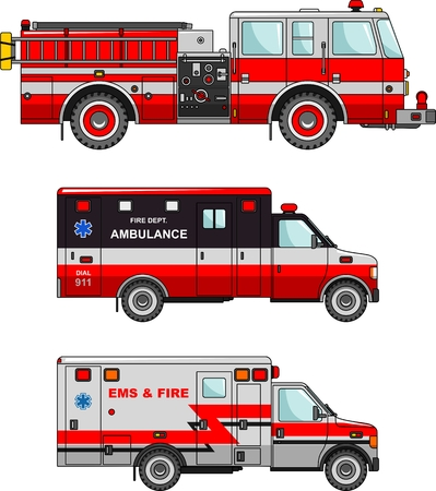 fire and water: Detailed illustration of fire truck and ambulance cars in a flat style