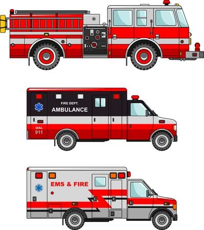 brandweer cartoon: Gedetailleerde illustratie van de brandweerwagen en ambulance auto's in een vlakke stijl Stock Illustratie