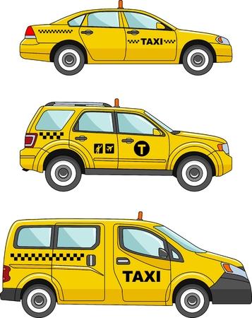 フラット スタイルのタクシー車の 3 つのバリエーション