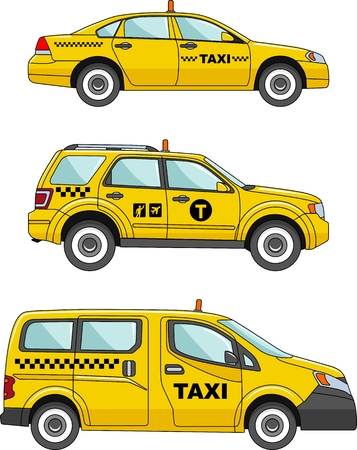 Three variants of the taxi car in a flat style