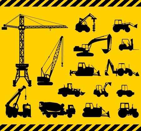 Ilustración de la silueta de equipo pesado y maquinaria Foto de archivo - 38705217