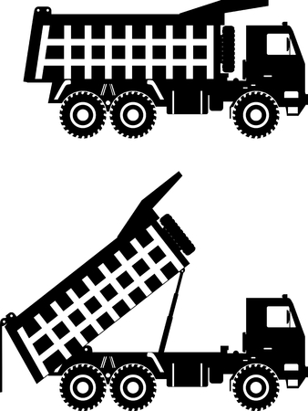 off highway: Detailed illustration of mining trucks, heavy equipment and machinery