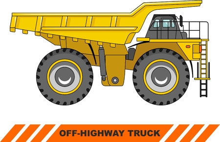 off highway: Detailed illustration of mining truck, heavy equipment and machinery