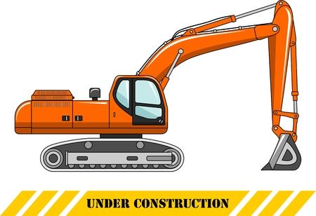 Illustration détaillée de pelle, l'équipement lourd et des machines