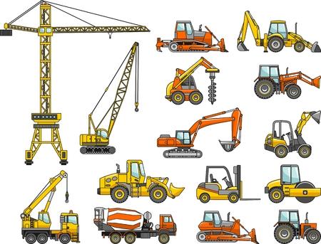 Ilustracja sylwetka ciężkiego sprzętu i maszyn Ilustracje wektorowe