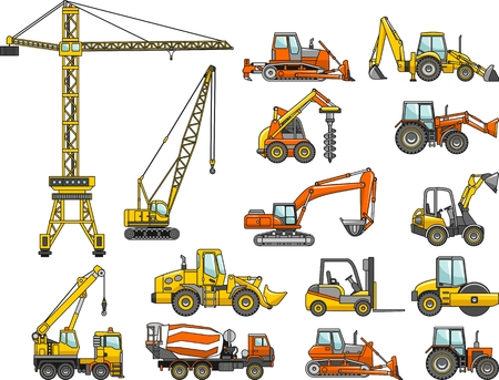 mining equipment: Silhouette illustration of heavy equipment and machinery