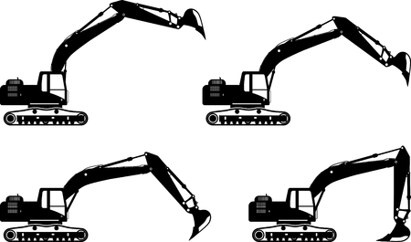 Detailed illustration of excavators, heavy equipment and machinery
