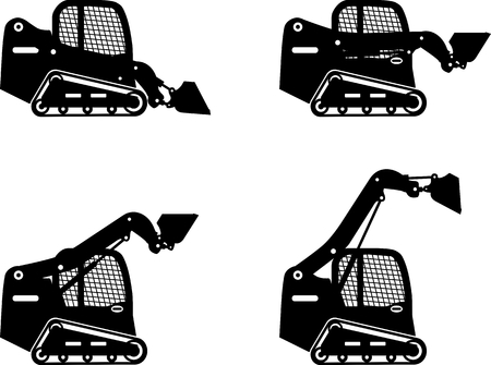 Detailed illustration of skid steer loaders, heavy equipment and machinery Çizim