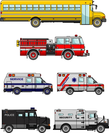 fire truck: Silhouette illustration of special machines on white background