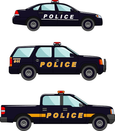 variants: Three variants of the police car in a flat style
