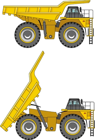 truck road: Detailed illustration of mining trucks, heavy equipment and machinery