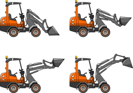 compact track loader: Detailed illustration of skid steer loaders, heavy equipment and machinery Illustration