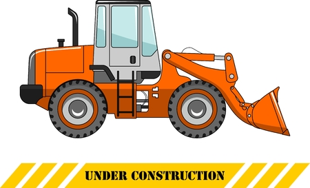 wheel loader: Detailed illustration of wheel loader, heavy equipment and machinery