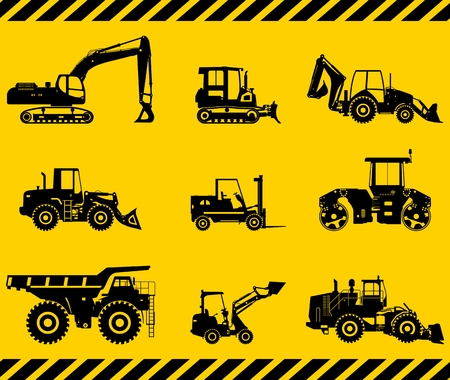 truck road: Silhouette illustration of heavy equipment and machinery