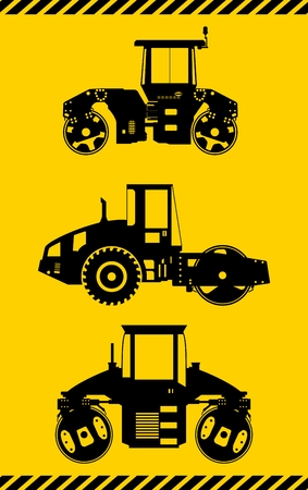 road paving: Detailed illustration of compactors, heavy equipment and machinery