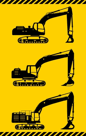 power shovel: Detailed illustration of excavators, heavy equipment and machinery