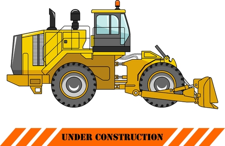 Detailed illustration of wheel dozer, heavy equipment and machinery