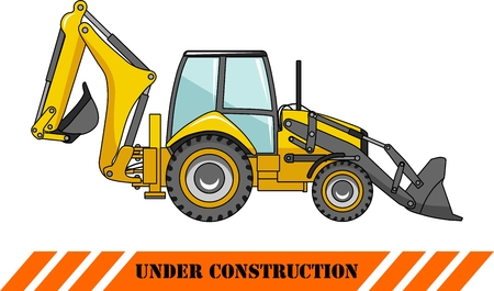 Detailed illustration of backhoe loader, heavy equipment and machinery