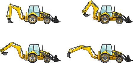 Detailed illustration of backhoe loaders, heavy equipment and machinery Vectores