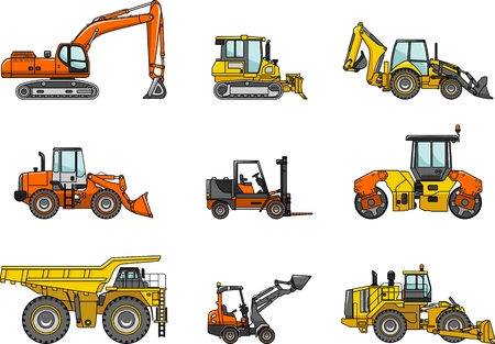 mining truck: Silhouette illustration of heavy equipment and machinery