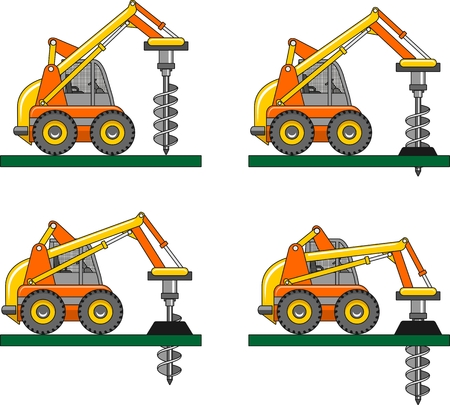 drilling rig: Detailed illustration of car with a drilling rig, heavy equipment and machinery