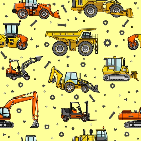 off highway: Detailed seamless background with heavy equipment and machinery