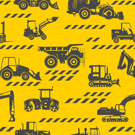 compactor: Seamless pattern with silhouette of heavy equipment and machinery