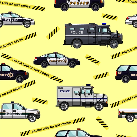 car pattern: Detailed seamless background with police cars in a flat style