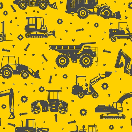 Seamless pattern with silhouette of heavy equipment and machinery