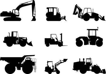 camion minero: Ilustración de la silueta de equipo pesado y maquinaria