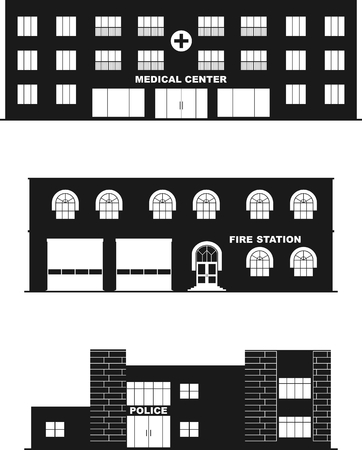 public hospital: Different types of buildings in a flat style. Illustration
