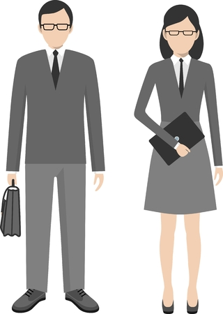man standing: Business people. Man and woman in a flat style