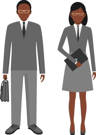 black women hair: Business people. African american man and woman in a flat style
