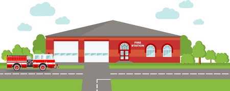 fire station: Detailed illustration of  fire station building and fire truck in a flat style.