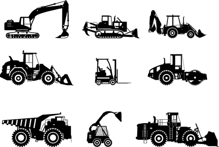 work load: Silhouette illustration of heavy equipment and machinery
