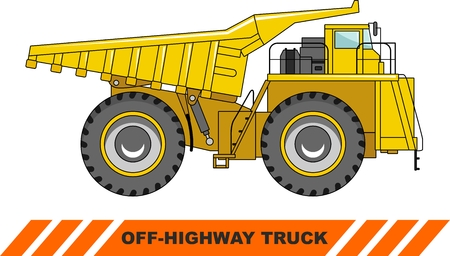 heavy equipment: Detailed illustration of mining truck, heavy equipment and machinery