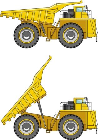 mining machinery: Detailed illustration of mining trucks, heavy equipment and machinery