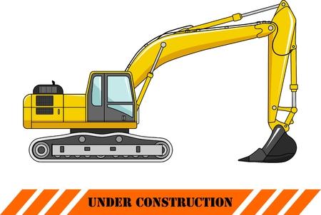 heavy equipment: Detailed illustration of excavator, heavy equipment and machinery