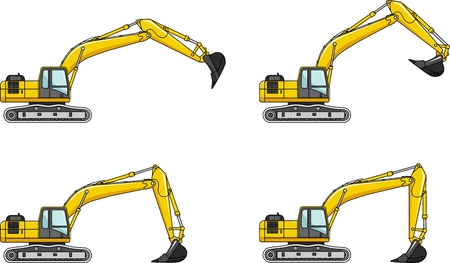 heavy: Detailed illustration of excavators, heavy equipment and machinery