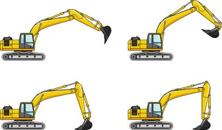 machinery: Detailed illustration of excavators, heavy equipment and machinery