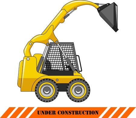 compact track loader: Detailed illustration of skid steer loader, heavy equipment and machinery