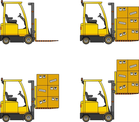 heavy equipment: Detailed illustration of forklifts, heavy equipment and machinery