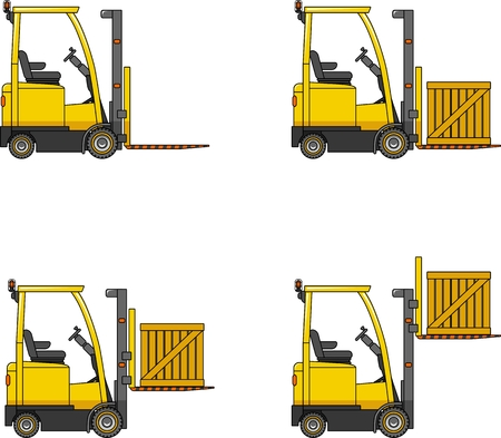 forklifts: Detailed illustration of forklifts, heavy equipment and machinery