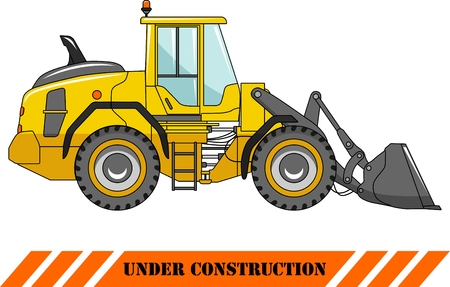 Detailed illustration of wheel loader, heavy equipment and machinery